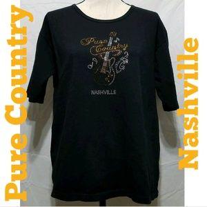 Pure Country Nashville Rhinestone Bling Tshirt